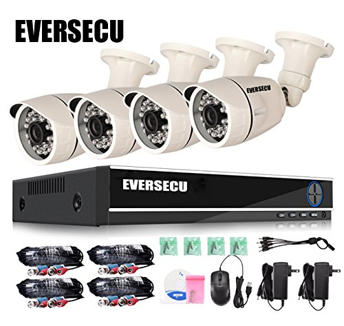 Eversecu 4 Channel Security Camera System 1080P Lite DVR and (4) 2.0MP 1080P Weatherproof Cameras Support Night Vison Weatherproof, Motion Alert, Smartphone, PC Easy Remote Access (NO HDD Included)
