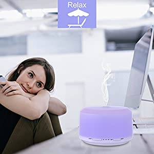 Essential Oil Diffuser 450ml, BAXIA TECHNOLOGY Aromatherapy Diffuser Ultrasonic Humidifier with 4 Timer Setting, 8 LED Color Changing Light and Waterless Auto Shut-off