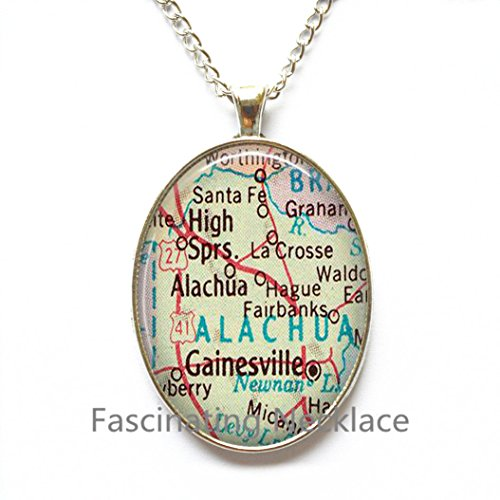 Charming Necklace,Gainesville, Florida map Pendant, Gainesville Necklace, Gainesville map Pendant, Gainesville Pendant,AO192 -