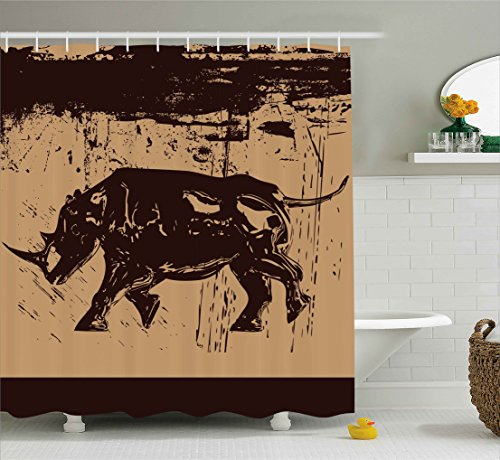 Ambesonne Animal Shower Curtain, Big Safari African Wildlfe Animal Monochrome Rhinoceros Sketchy Image, Fabric Bathroom Decor Set with Hooks, 75 Inches Long, Pale Brown Dark Brown