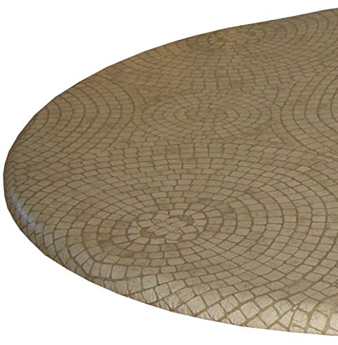 Fitted Vinyl Tablecloth - Fits 40 to 48 in. tables (Beige Mosaic)