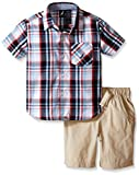 Nautica Little Boys' Two Piece Short Sleeve Woven Shirt with Pull On Bottom,White,3T