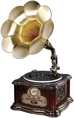 Gramola tocadiscos retro forma trompeta con USB, MP3, CD y tarjeta SD