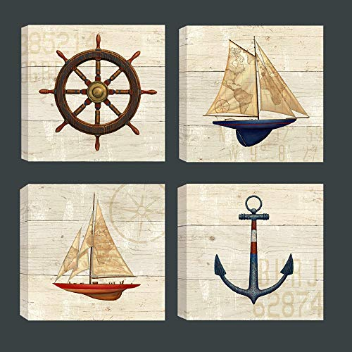 Rustic Nautical Ocean Wall Art Painting Anchor Ship Steering Antique Map Sailing Boat on Wooden Background for Bathroom Kids Bedroom Wall Decor, Stretched (12x12inchx4 (30x30cmx4))