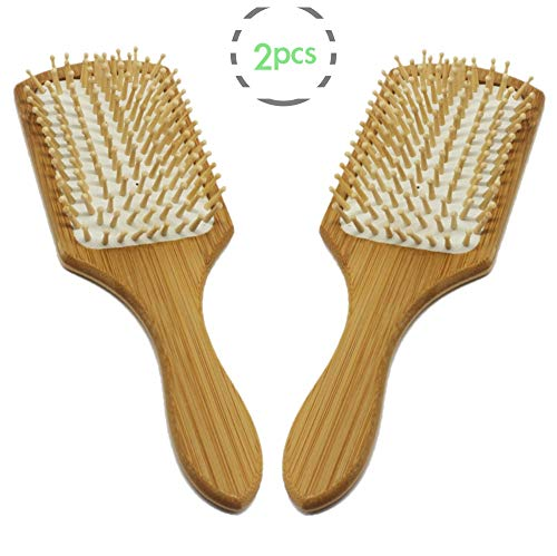 (FYD Natural Bamboo Wooden Paddle Hair Brush Eco-Friendly Bamboo Bristle Detangling Hairbrush Massage Scalp, Reduce)
