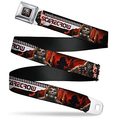 SCARECROW Arkham Knight Skull Icon Full Color Reds Seatbelt Belt - SCARECROW Arkham Knight Profile/2-Poses Orange/Black/White Webbing REGULAR