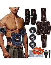Jaspik Ceinture Abdominale Électrostimulation, Musculaire Entraînement Abdominal/Cuisse/Bras Muscle EMS Forme d'exercice Fitness, EMS Électrostimulateur USB Charge et 16 Coussinets de Gel