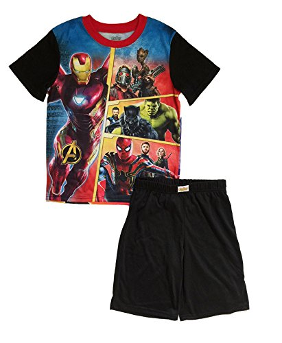 AME Enterprises Avengers Infinity War 2 Piece Short Pajama Sleepwear Set, Black, Large 10/12