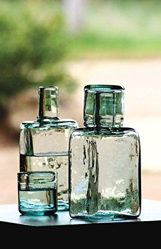 Hand-made, Unique, Recycled Bedside Carafe and Drinking Glass (Recycled Glass Carafe)
