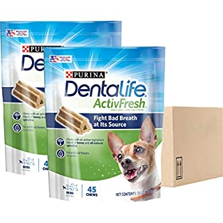Purina DentaLife Made in USA Facilities Dog Dental Chews, ActivFresh Daily Oral Care Mini - 13.5 oz/Pouche- 45 count/ pack- pack of 2 (total 90 treats)