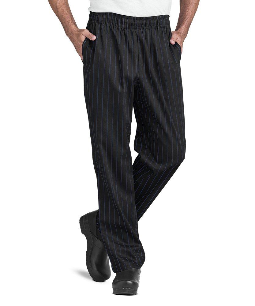 Men's Chef Pant, Blue Stripe On Black Print (XS-3X) (Large)