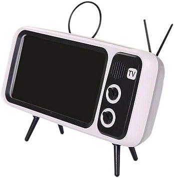 Mini Altavoz portátil Bluetooth, diseño Retro de TV para el hogar Soporte para teléfono móvil Altavoz de Radio FM Altavoz 3D Estéreo Soporte de Calidad Ranura para Tarjeta TF (Blanco): Amazon.es: Electrónica