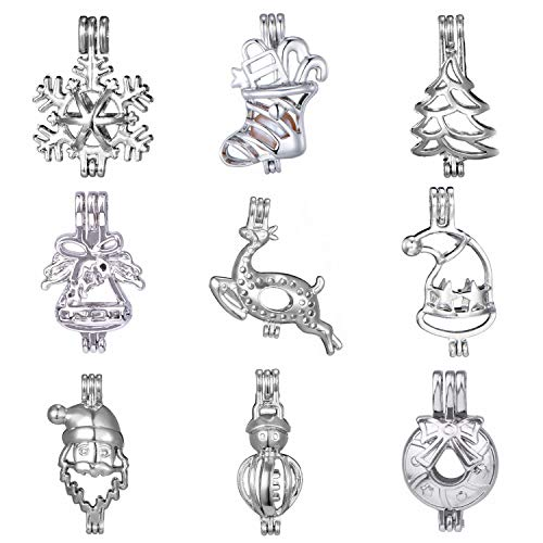 Aromatic Pendant - 9pcs Mix Christmas Snowman Santa Claus Tree Bell Stockings Deer Wreath Cute Pearl Bead Cages Locket Scent Aromatic Essential Oil Diffuser Charm Pendant DIY Jewelry Making Charms Decorate …