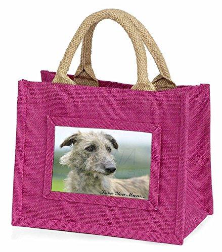 Advanta–Mini Pink Jute Tasche Rough beschichtet Lurcher Love You Mum Little Mädchen klein Einkaufstasche Weihnachten Geschenk, Jute, pink, 25,5x 21x 2cm