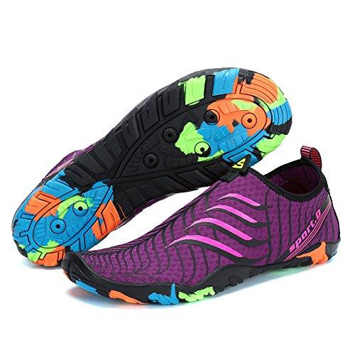 Livianas Aqua Zapatos Voovix Unisex Nadar Rápido Yoga Agua Violeta Surf Transpirable de Shoes de Hombres Secado Calcetines Beach Agua Zapatillas Para de Descalza rqqYI6