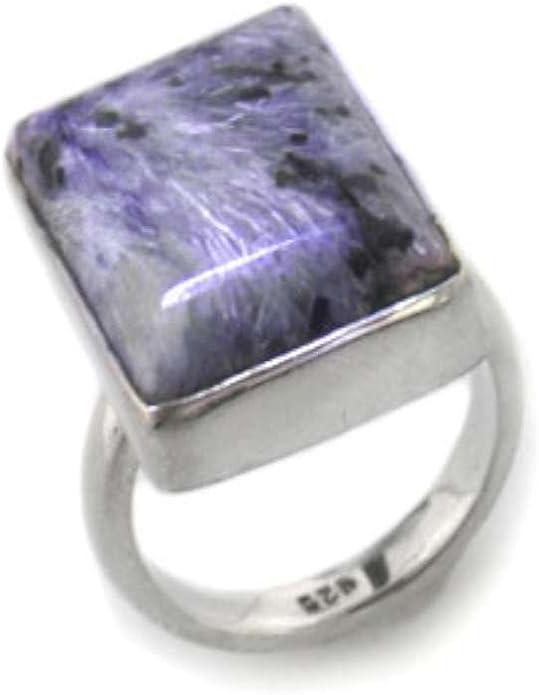 charoite ring handmade ring solid sterling silver ring gemstone ring A305 Natural charoite ring