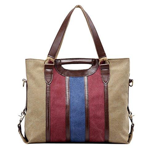 Lona señoras Moda Costura Raya De Gran Capacidad Usable Transpirables Bolso Bolsos Brown2