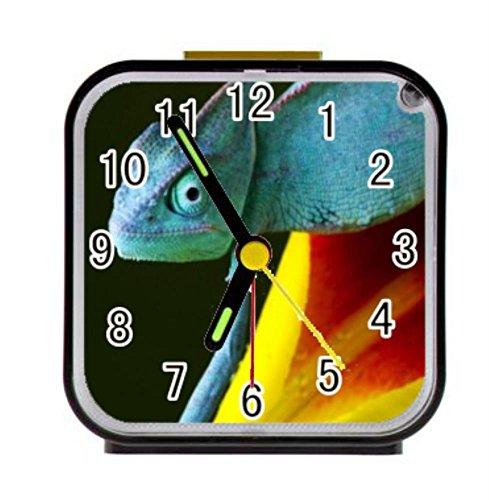 LiFei Business Reptile gecko lizard Eyed Royal Custom Square Black Alarm (Lizard Clock)