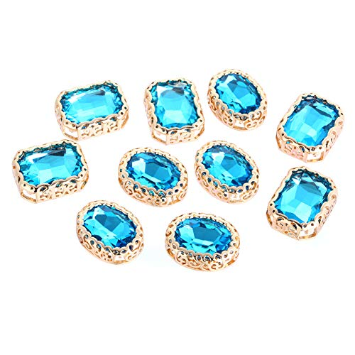 (Vintage Rectangular Crystal Stone Rhinestones for Crafts, 10Pcs Sew on Rhinestones, DIY Craft Perfect for Clothes Garment, Bags, Shoes, Dress, Wedding Party Decoration (Lake Blue 10Pcs))