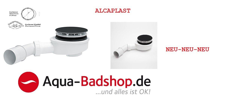 Ablaufgarnitur für Duschwannen- Dusche Siphon -Maße: Ø 90 mm Ablauf flach 60 mm Alcaplast-Farbe:weiss/-Chrom