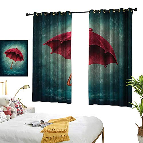LewisColeridge Living Room Curtains Winter,Retro Autumn Umbrella,Adjustable Tie Up Shade Rod Pocket Curtain 42