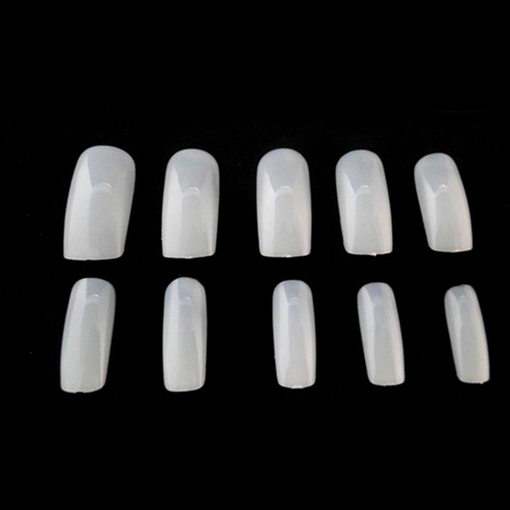 Fashion - 500 uñas postizas de 10 tamaños con tapa completa y puntas de uñas postizas naturales con caja elegante: Amazon.es: Belleza