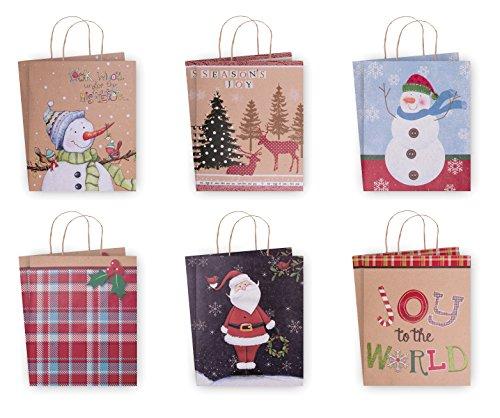 12 Pack of Large Christmas Gift Bags - Xmas Giftbags Kraft Designs