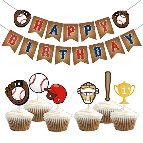 Kreatwow Baseball Birthday Party Supplies Baseball Happy Birthday Bunting Banner Cupcake Toppers for Kids Baseball Sports Party -