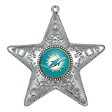 NFL Miami Dolphins Silver Star Ornament, Small, Silver