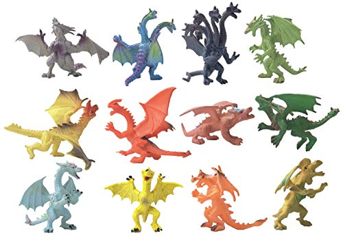 HAPTIME 12Pcs Mini Dragon Toys Realistic Miniature Assorted Colors, Plastic Dragon Figures Castle Toy, Party Favors Toy for Boys Kids
