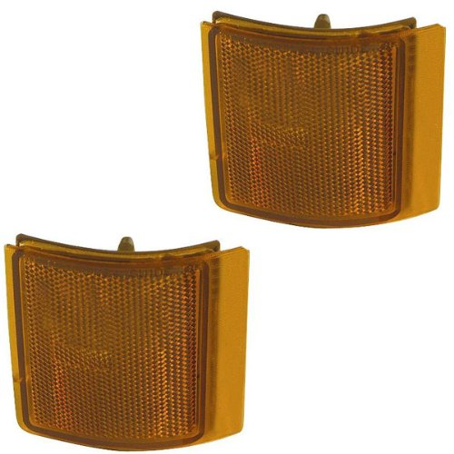 1994-2001 GMC C/K 1500 2500 3500 Full Size Pickup Trucks & 1994-1999 GMC Suburban & 1994-2000 Yukon Lower Corner Park Lamp Turn Signal Marker Light (excluding Sealed Beam Headlights, Mounts in the Grille) Pair Set Right Passenger AND Left Driver Side (1994
