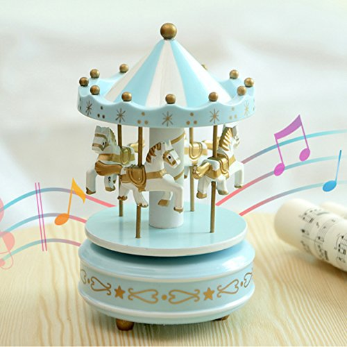 OKOK Vintage Blue Wooden Merry-Go-Round Horse Christmas Birthday Gift Carousel Music Box, Clockwork Mechanism Laxury Carousel Music Box