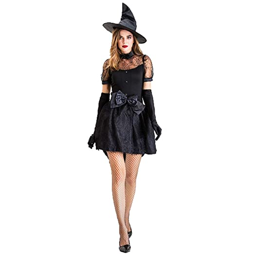 CAGYMJ Dress Party Mujer Vestido,Cosplay Negro Bruja Novia ...