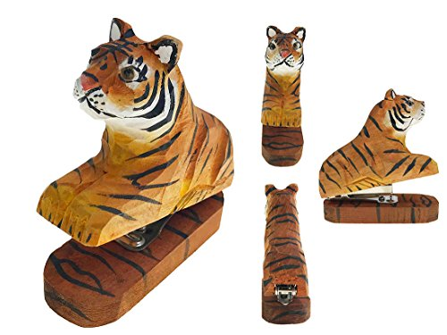 Vivid Handmade Wood Carving Cartoon Mini Animal Stapler for School Office Stationery Children Christmas Gift (Tiger) by Alrsodl
