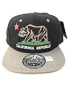 CALIFORNIA REPUBLIC Gray on Black w/ Gray Bill, White Letters, Flat Bill Snapback Hat by Original