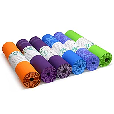 "Yes4All Eco-Friendly 100% TPE Yoga Gym Exercise Mat, Two Anti-Slip Layers, PVC and Toxic Free, Extra Long 72"", Extra Thick 6mm Cushion"