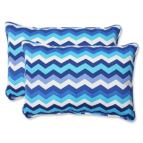Set of 2 Rayas Azules Blue, Navy and White Chevron Striped Outdoor Corded Throw Pillows 24.5""