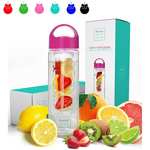 Savvy Infusion Water Bottle - 24 or 32 Ounce - Featuring Unique Leak-Proof Sealed Cap w/ Handle - Includes Bonus Recipe Ebook