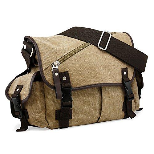 Bag Courier Bags - Oct17 Men Messenger Bag School Shoulder Canvas Vintage Crossbody Military Satchel Bag Laptop Khaki