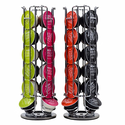 360 Degree Rotating Coffee Capsules Carousel Holder Stand for Dolce Gusto Capsules, 24 Pod Capacity (12.8x5.3x5.3inches) (Dolce Gusto Capsules Storage)