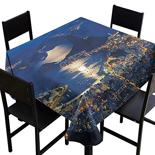 - haommhome Polyester Tablecloth Night Mountain Sugar Loaf Rio Excellent Durability W54 xL54 for Kitchen Dinning Tabletop Decoration