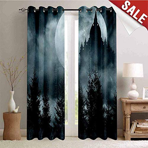 (Hengshu Halloween Decor Curtains by Magic Castle Silhouette Over Full Moon Night Fantasy Landscape Scary Forest Room Darkening Wide Curtains W96 x L96 Inch Grey Pale Grey)