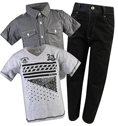 Quad Seven Little Boy's 3-Piece Short Sleeve Woven Shirt, Tee, and Denim Pant Set, Charcoal/Black, Size 7' by Quad Seven (Image #5)