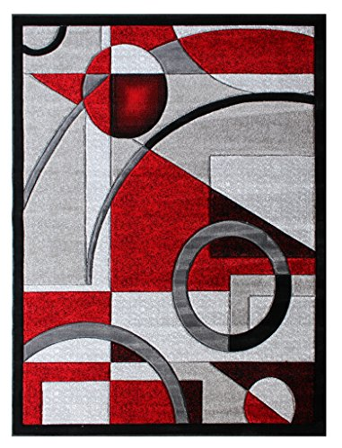 Masada Rugs, Sophia Collection Hand Carved Area Rug Modern Contemporary Red Grey White Black (8 Feet X 10 Feet) ()