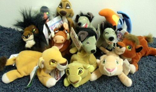 Rare Disney Lion King Complete Set of 12 Plush Bean Bag 8 Inch Dolls Including Simba, Nala, Kovu, Kiara, Shenzi, Ed, Banzai, Pumbaa, Zazu, Timon, Scar, and Rafiki (Zazu Lion King)