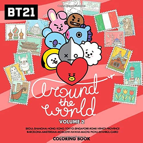 Bt21 Around The World Coloring Book Volume 2 Tata Mang Chimmy Rj Koya Cooky Shooky And Van On International Tour Seoul Shanghai Hong Kong Amsterdam Moscow Istanbul Cairo Wang Grace Eugenia