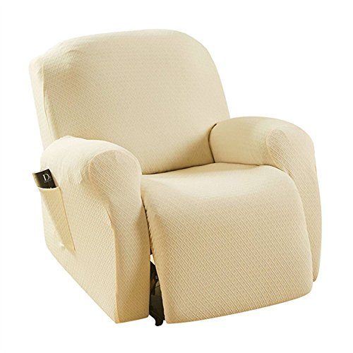 Taisheng Stretch Recliner Sofa Slipcovers with Remote Pocket 4 Pieces Couch Cover(Creamy White)