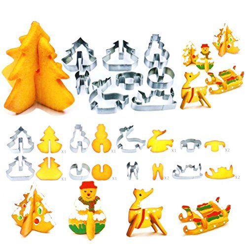 Homemade Tree Stand Christmas - DECORA 8 Pieces 3D Christmas Cookie Cutter Stainless Steel