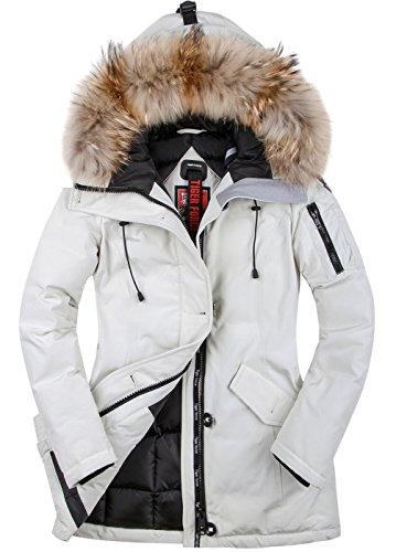 - TIGER FORCE Thickened Parka Women Winter Jacket with Real Fur Hood Mountain Ski Waterproof Rain Outdoors Padded Coat White