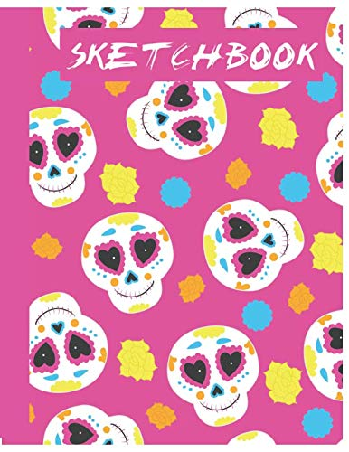 Sketchbook: Cute Skull Sketchbook for Adults/Children to Sketching, Whiting, Drawing, Journaling and Doodling, Large (8.5x11 Inch. 21.59x27.94 cm.) 120 Blank Pages (WHITE&PINK&BLUE&YELLOW Pattern)]()
